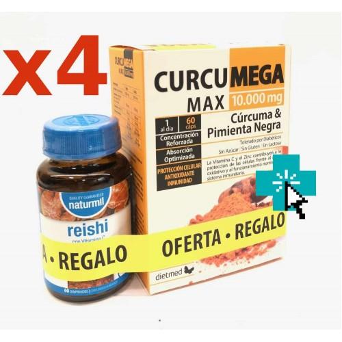 Curcumega Max 60 cápsulas x4 y Regalo Reishi