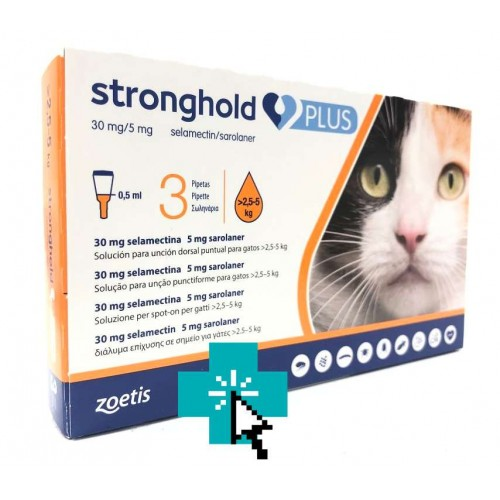 Stronghold Plus Gatos 2.5-5 kg 3 Pipetas
